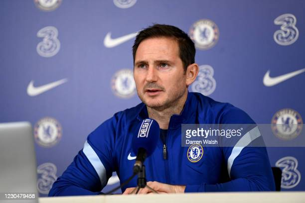 Frank Lampard of Chelsea during a press conference at Chelsea Training Ground on January 8, 2021 in Cobham, England.