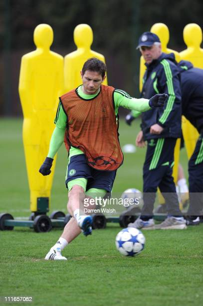 Frank Lampard of Chelsea during a training session ahead of their UEFA Champions League Quarter-final first leg match against Manchester United, at...