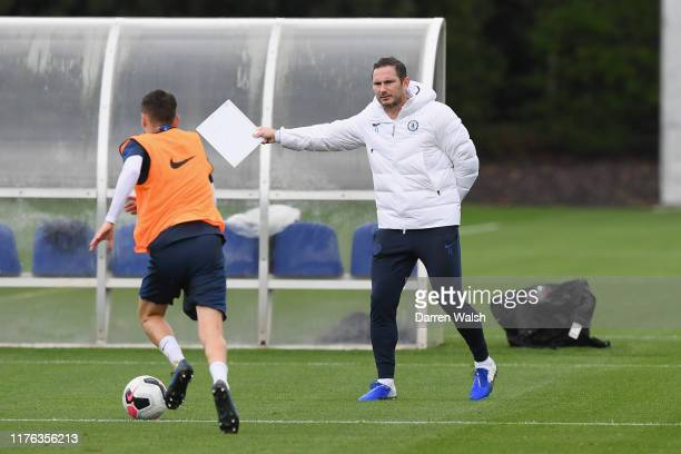 Frank Lampard of Chelsea during a training session at Chelsea Training Ground on October 17 2019 in Cobham England