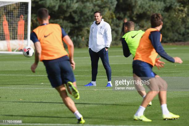 Frank Lampard of Chelsea during a training session at Chelsea Training Ground on October 18 2019 in Cobham England