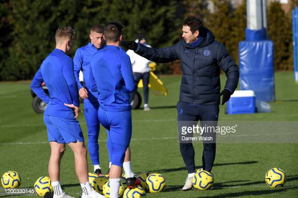 Frank Lampard of Chelsea during a training session at Chelsea Training Ground on February 12 2020 in Cobham United Kingdom