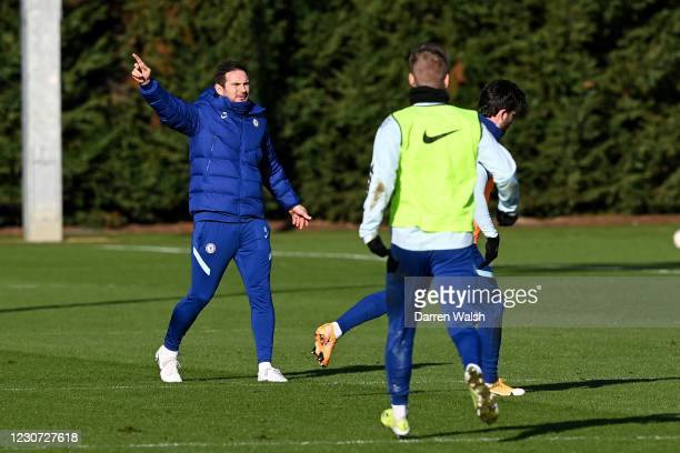 Frank Lampard of Chelsea during a training session at Chelsea Training Ground on January 22, 2021 in Cobham, England.
