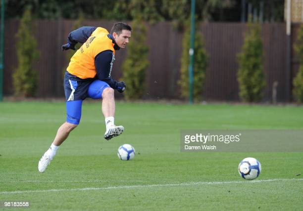 Frank Lampard of Chelsea during a training session at the Cobham Training Ground on April 1 2010 in Cobham England