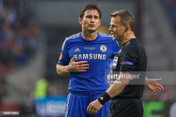Frank Lampard of Chelsea FC referee Bjorn Kuipers during the UEFA Europa League final match between SL Benfica and Chelsea FC on May 15 2013 at the...
