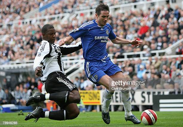 Frank Lampard of Chelsea is challenged by Titus Bramble of Newcastle United during the Barclays Premiership match between Newcastle United and...