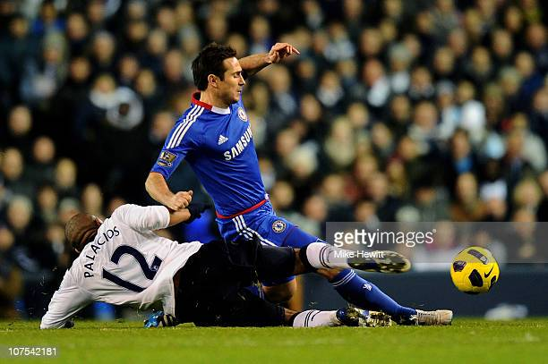 Frank Lampard of Chelsea is tackled by Wilson Palcios of Spurs during the Barclays Premier League match between Tottenham Hotspur and Chelsea at...