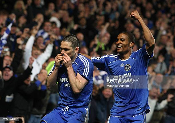 Frank Lampard of Chelsea kisses a black armband in memory of his mother as he celebrates after scoring a penalty to make it 21
