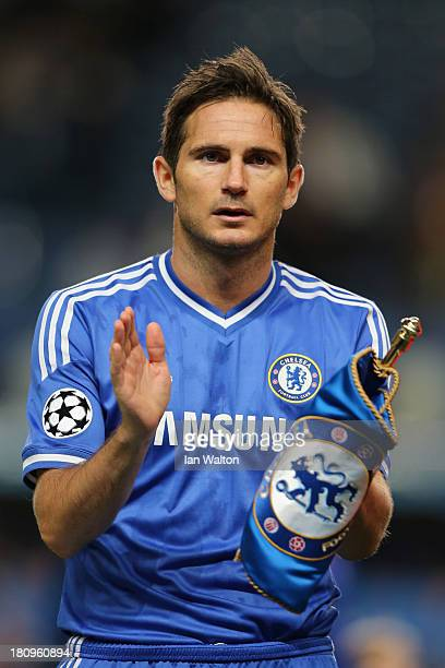Frank Lampard of Chelsea lines up ahead of the UEFA Champions League Group E Match between Chelsea and FC Basel at Stamford Bridge on September 18...