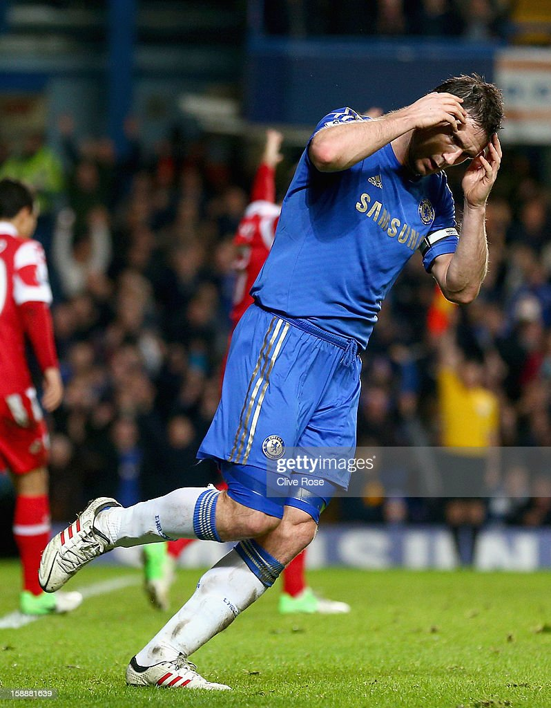 Frank Lampard of Chelsea reacts after his goal is disallowed for offside during the Barclays Premier League match between Chelsea and Queens Park Rangers at Stamford Bridge on January 2, 2013 in London, England.