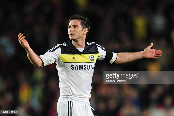 Frank Lampard of Chelsea reacts during the UEFA Champions League Semi Final second leg match between FC Barcelona and Chelsea FC at Camp Nou on April...
