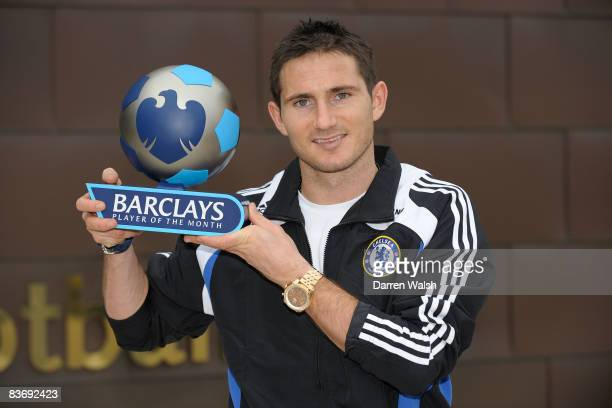 Frank Lampard of Chelsea receives the Barclays Player of the month for October 2008 after a Chelsea FC training session on November 14 2008 in Cobham...