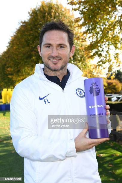 Frank Lampard of Chelsea receives the Premier League Manager of the Month award for October at Chelsea Training Ground on November 8 2019 in Cobham...