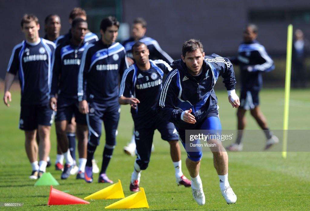 Frank Lampard of Chelsea runs during a training session at the Cobham Training Ground on April 23, 2010 in Cobham, England.
