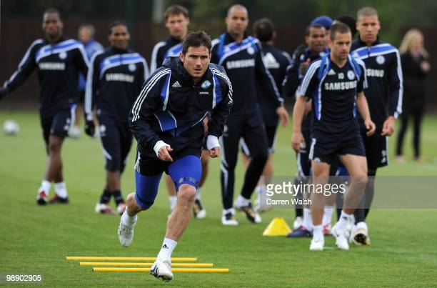 Frank Lampard of Chelsea runs during a training session at the Cobham Training Ground on May 7, 2010 in Cobham, England.