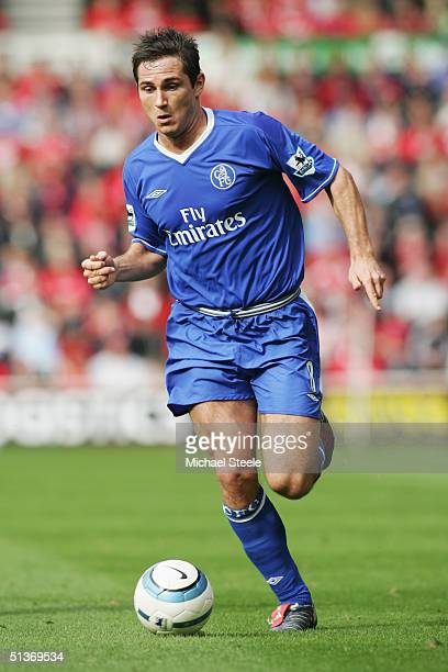 Frank Lampard of Chelsea runs with the ball during the FA Barclays Premiership match between Middlesbrough and Chelsea at The Riverside Stadium on...
