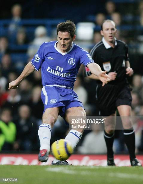 Frank Lampard of Chelsea scores his teams second goal during the Barclays Premiership match between Chelsea and Norwich City at Stamford Bridge on...