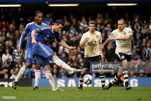 Frank Lampard of Chelsea scores the opening goal in the first half of extra time during the FA Cup sponsored by EON 4th round replay match between...