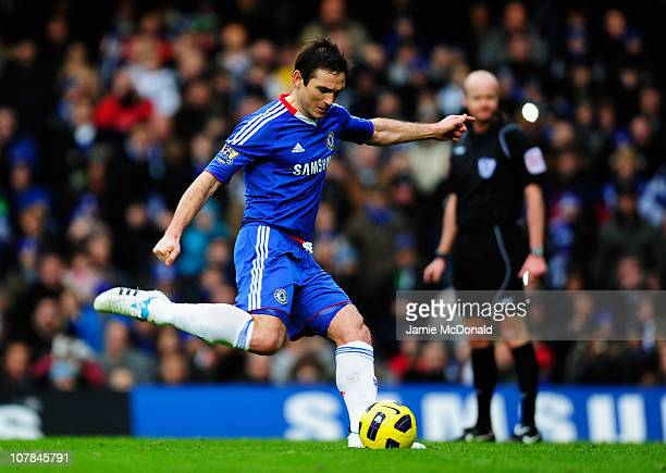 Frank Lampard of Chelsea scores their first goal from the penalty spot during the Barclays Premier League match between Chelsea and Aston Villa at...