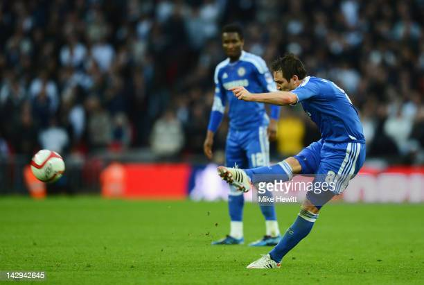 Frank Lampard of Chelsea scores their fourth goal from a free kick during the FA Cup with Budweiser Semi Final match between Tottenham Hotspur and...
