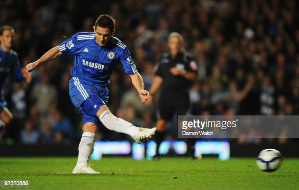 Frank Lampard of Chelsea scores their fourth goal from the penalty spot during the Barclays Premier League match between Chelsea and Blackburn Rovers...