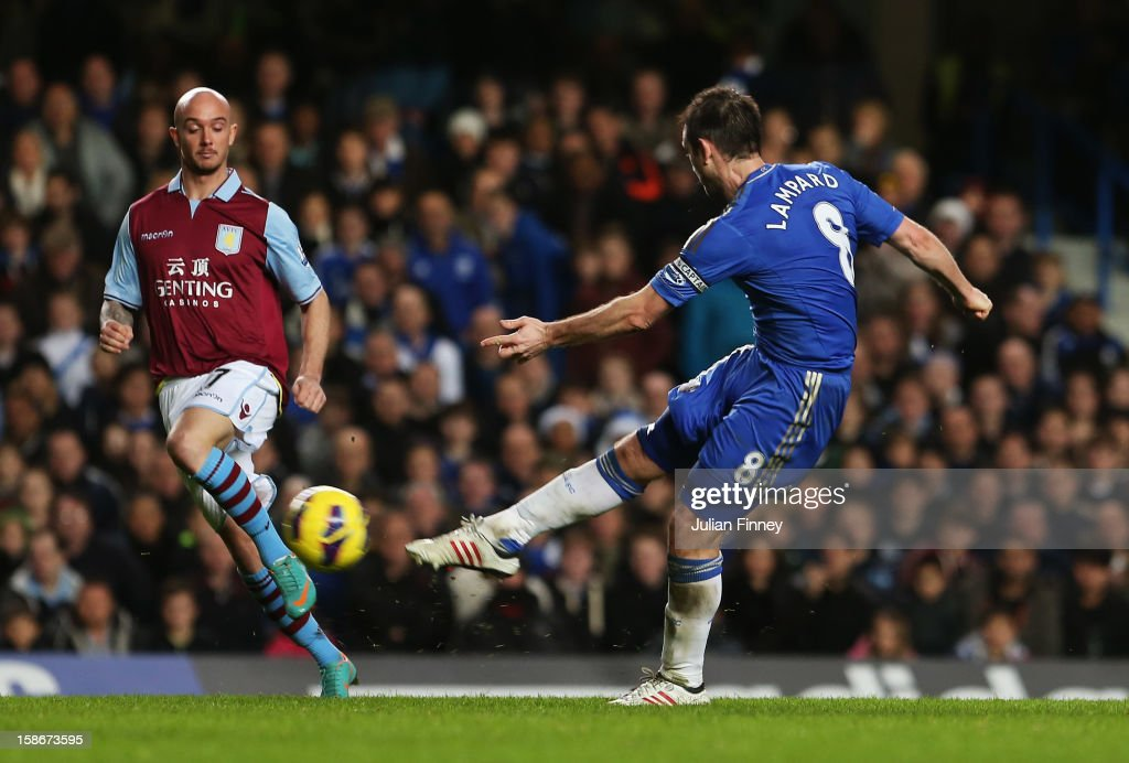 Frank Lampard of Chelsea scores their fourth on his 500th Premier League start during the Barclays Premier League match between Chelsea and Aston Villa at Stamford Bridge on December 23, 2012 in London, England.