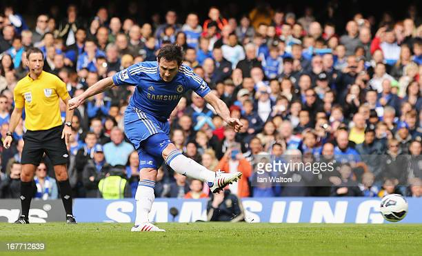 Frank Lampard of Chelsea scores their second goal from the penalty spot during the Barclays Premier League match between Chelsea and Swansea City at...