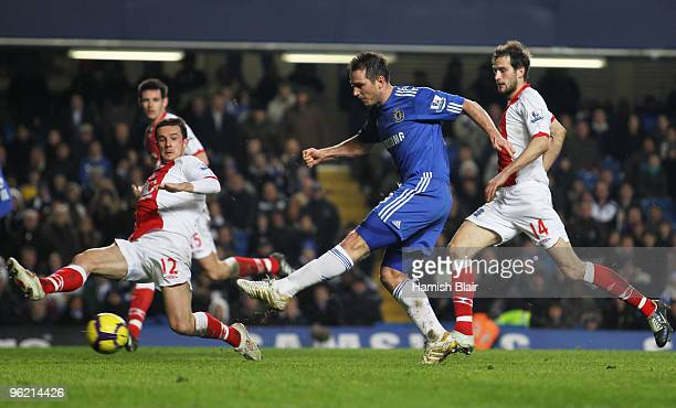 Frank Lampard of Chelsea scores their third goal during the Barclays Premier League match between Chelsea and Birmingham City at Stamford Bridge on...