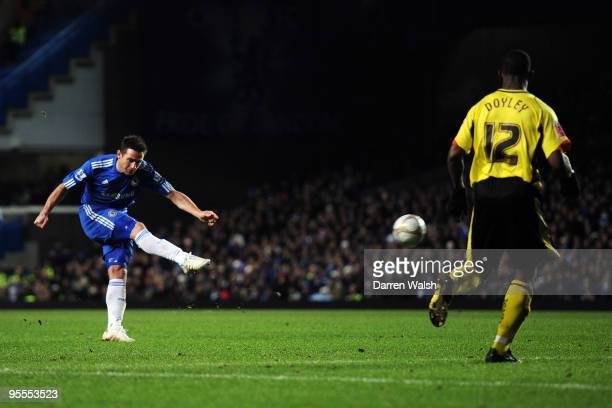 Frank Lampard of Chelsea shoots and scores during the FA Cup sponsored by EON Final 3rd round match between Chelsea and Watford at Stamford Bridge on...