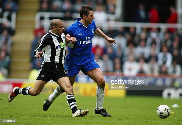 Frank Lampard of Chelsea skips past Kieron Dyer of Newcastle United during the FA Barclaycard Premiership match between Newcastle United and Chelsea...