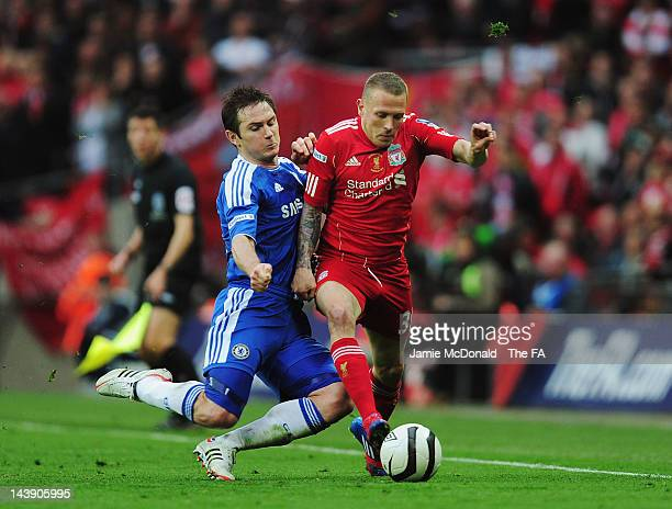 Frank Lampard of Chelsea tackles Craig Bellamy of Liverpool during the FA Cup Final with Budweiser between Liverpool and Chelsea at Wembley Stadium...