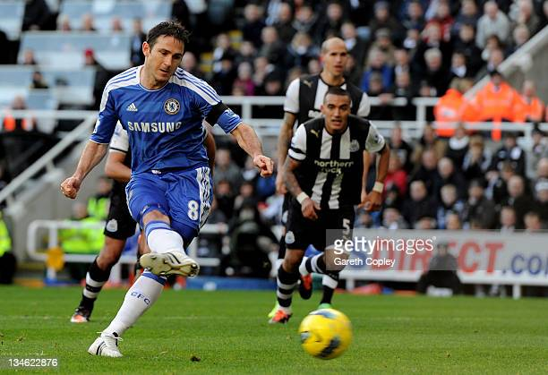 Frank Lampard of Chelsea takes and subsequently misses a penalty kick during the Barclays Premier League match between Newcastle United and Chelsea...