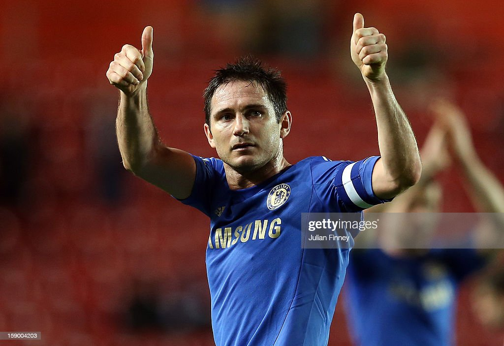 Frank Lampard of Chelsea thanks the support after the FA Cup Third Round match between Southampton and Chelsea at St Mary's Stadium on January 5, 2013 in Southampton, England.