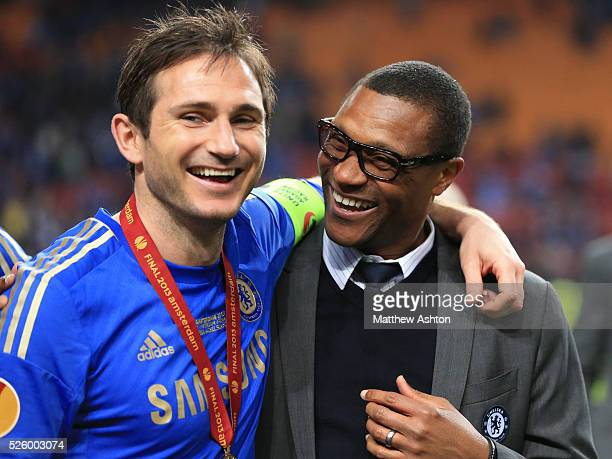 Frank Lampard of Chelsea with Michael Emenalo technical director at Chelsea