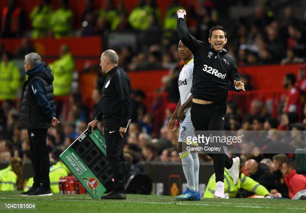 Frank Lampard of Derby County celebrates after Jack Marriott of Derby County scores their team's second goal during the Carabao Cup Third Round match...