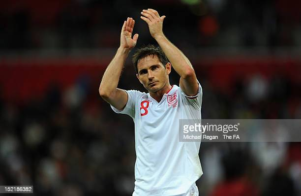 Frank Lampard of England applauds the fans after the FIFA 2014 World Cup qualifier group H match between England and Ukraine at Wembley Stadium on...