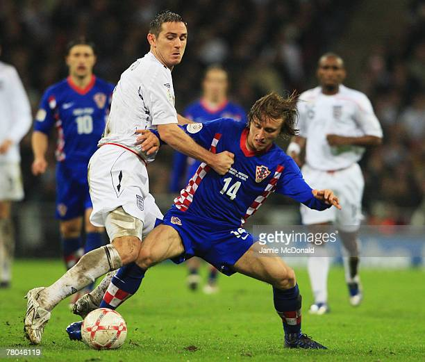 Frank Lampard of England battles with Luka Modric of Croatia during the Euro 2008 Group E qualifying match between England and Croatia at Wembley...