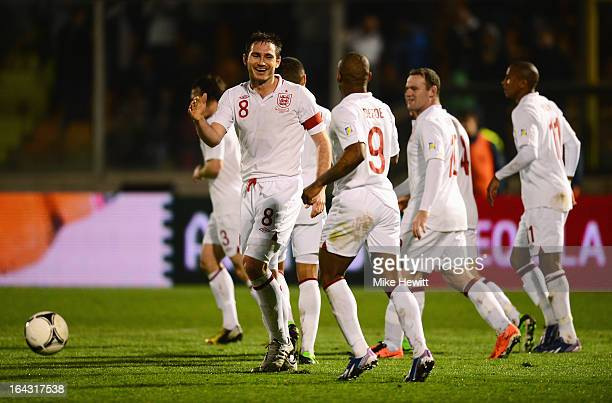 Frank Lampard of England celebrates a goal with Jermain Defoe during the FIFA 2014 World Cup Qualifier Group H match between San Marino and England...