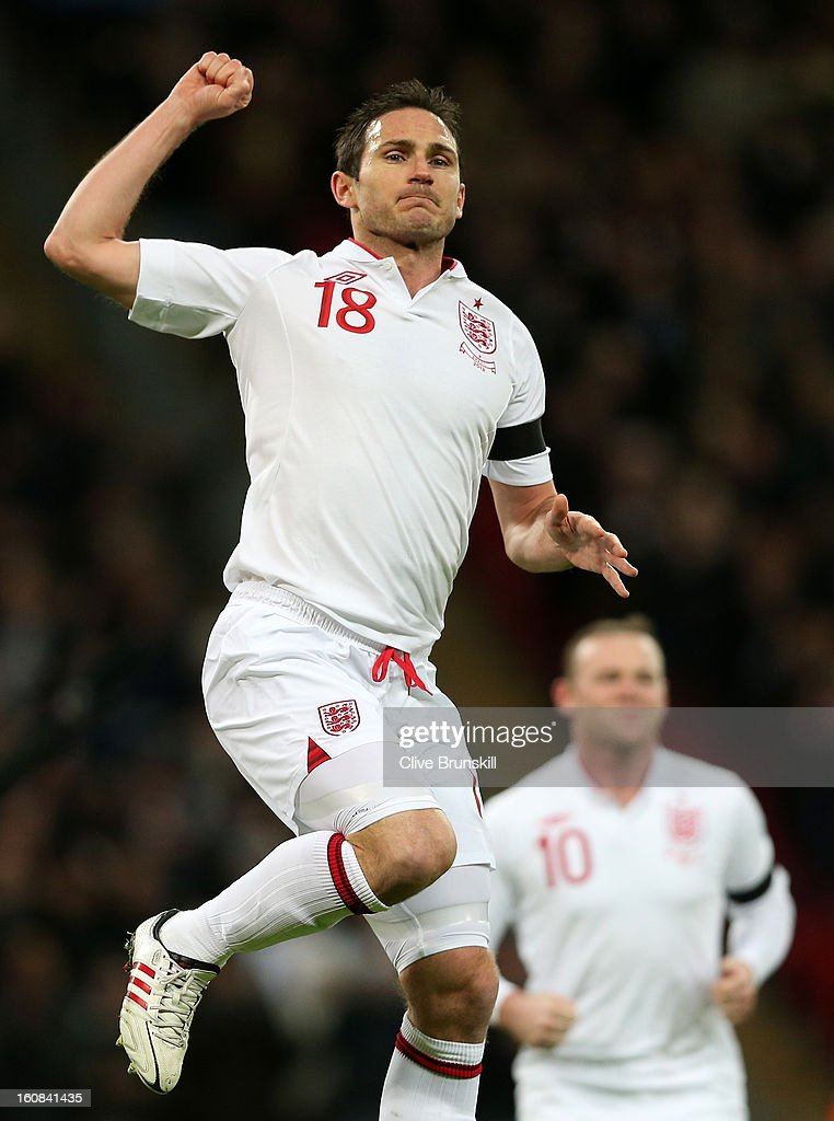 Frank Lampard of England celebrates after he scores his team's second goal during the International friendly between England and Brazil at Wembley Stadium on February 6, 2013 in London, England.
