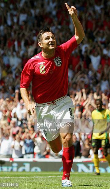 Frank Lampard of England celebrates after opening the scoring during the International Friendly between England and Jamaica at Old Trafford on June 3...