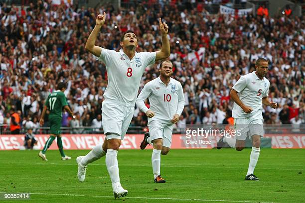 Frank Lampard of England celebrates scoring from the penalty spot during the International Friendly match between England and Slovenia at Wembley...
