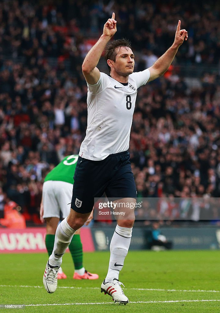 Frank Lampard of England celebrates scoring his team's first goal to make the score 1-1 during the International Friendly match between England and the Republic of Ireland at Wembley Stadium on May 29, 2013 in London, England.