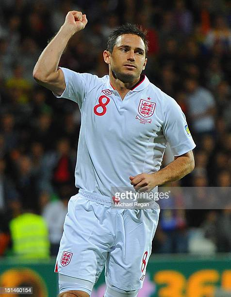 Frank Lampard of England celebrates scoring to make it 10 during the FIFA 2014 World Cup qualifier match between Moldova and England at Zimbru...