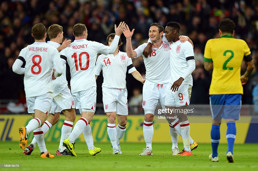 Frank Lampard of England (3R) celebrates with team-mates after he scores his team's second goal during the International friendly between England and Brazil at Wembley Stadium on February 6, 2013 in London, England.