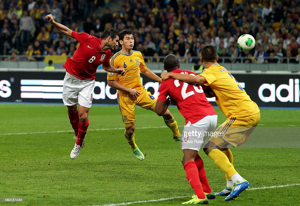 Frank Lampard of England heads wide in the last minutes during the FIFA 2014 World Cup Qualifying Group H match between Ukraine and England at the Olympic Stadium on September 10, 2013 in Kiev, Ukraine.