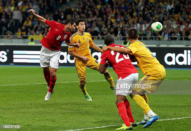 Frank Lampard of England heads wide in the last minutes during the FIFA 2014 World Cup Qualifying Group H match between Ukraine and England at the...