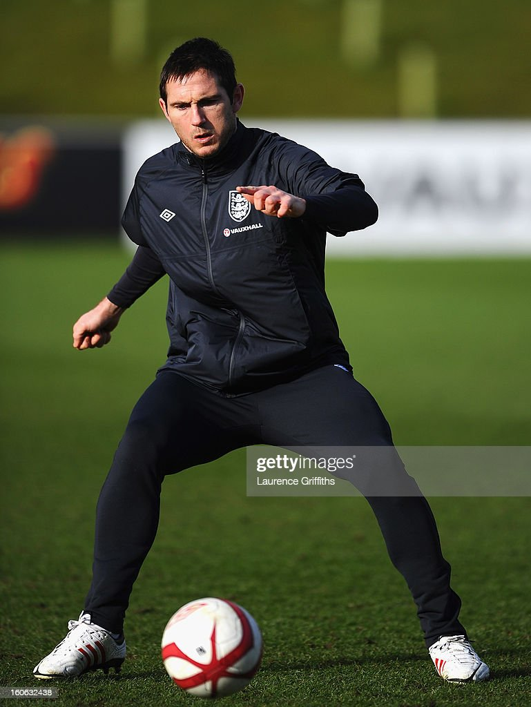 Frank Lampard of England in action during a training session at St Georges Park on February 4, 2013 in Burton-upon-Trent, England.