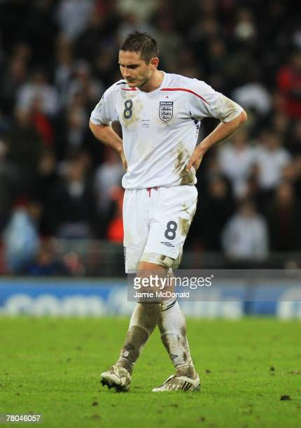 Frank Lampard of England looks dejected after the Euro 2008 Group E qualifying match between England and Croatia at Wembley Stadium on November 21...