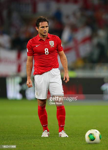 Frank Lampard of England prepares to take a free kick during the FIFA 2014 World Cup Qualifying Group H match between Ukraine and England at the...