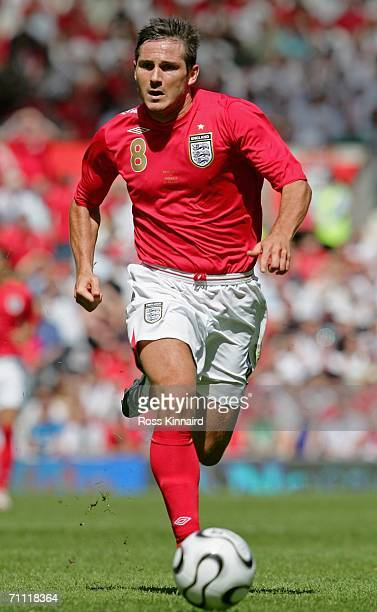 Frank Lampard of England runs with the ball during the International Friendly between England and Jamaica at Old Trafford on June 3 2006 in...