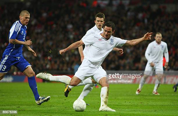 Frank Lampard of England scores during the International Friendly match between England and Slovakia at Wembley Stadium on March 28 2009 in London...